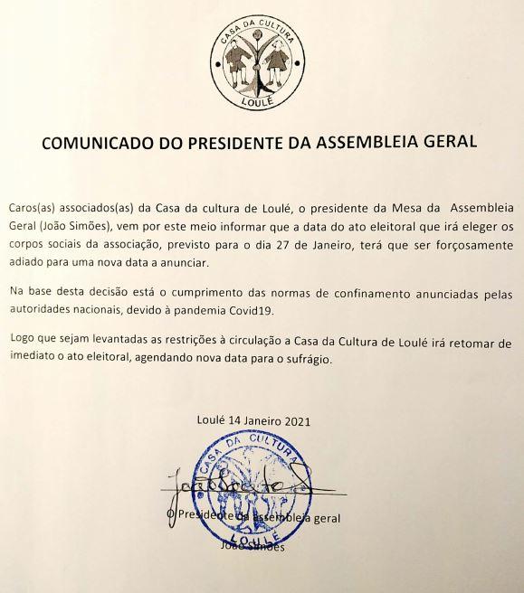 COMUNICADO DO PRESIDENTE DA ASSEMBLEIA GERAL