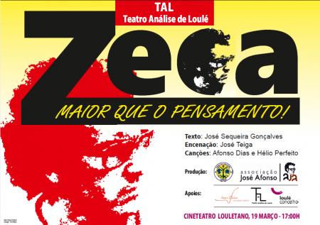 """cartaz 19 março """"Zeca maior do que o pensamento"""""""