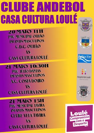 cartaz jogos andebol casa da cultura de loulé 20 e 21 Maio