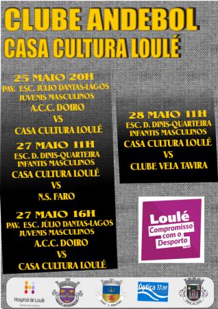 cartaz jogos andebol 25, 27 e 28 maio Casa da Cultura de Loulé