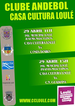 cartaz jogos 29 Abril Casa da Cultura Loulé - andebol