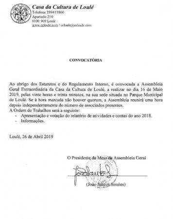 convocatória aprovação contas 2018